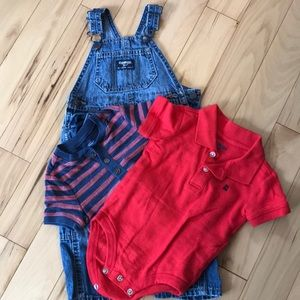 Osh Kosh overalls and 2 shirts